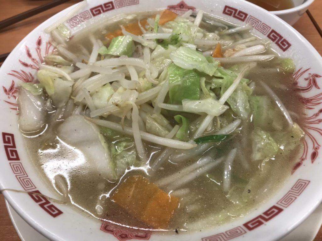 日高屋の野菜たっぷりタンメン麺少なめ